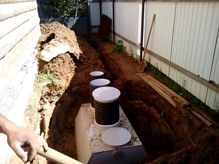 устройство самотечной канализации в стесненных условиях.